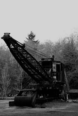 An Old Logging Crane In Black And White Print by Jeff Swan