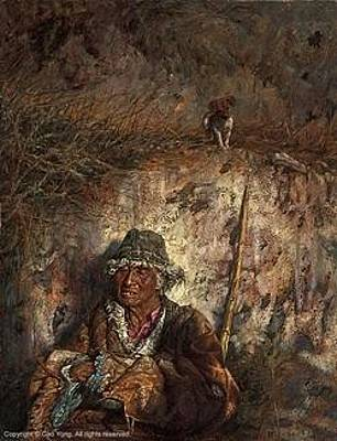 Cao Yong Painting - An Old Man And A Dog by Cao Yong
