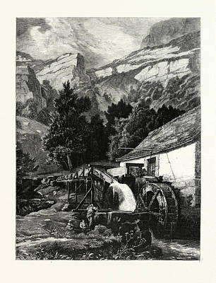 An Old Mill In The Jura Mountains. Mountains Art Print by C.e. Dubois, 19thcentury, American