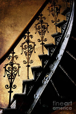 An Old Ornamented Handrail And Metal Spiral Stairs Art Print