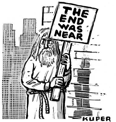 Apocalypse Drawing - An Old Prophet-figure Stands At A Street Corner by Peter Kuper