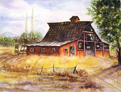 An Old Red Barn Art Print