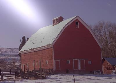 Cattle Chute Photograph - An Old Red Barn  by Jeff Swan