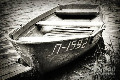 An Old Row Boat In Black And White Art Print by Emily Kay