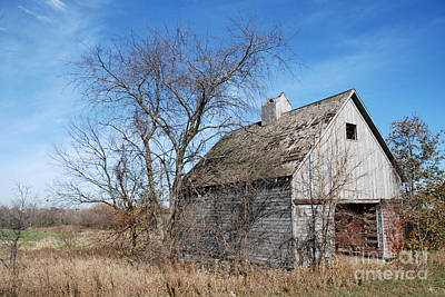 An Old Rundown Abandoned Wooden Barn Under A Blue Sky In Midwestern Illinois Usa Art Print