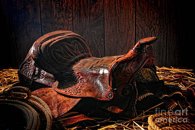An Old Saddle Art Print by Olivier Le Queinec