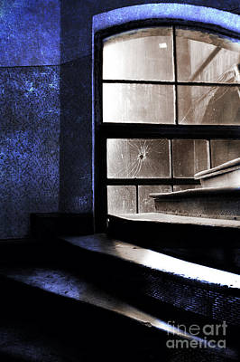 An Old Stairs And The Broken Window Art Print