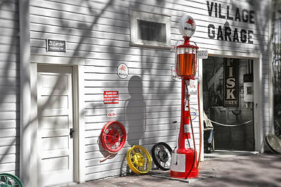 Old Photograph - An Old Village Gas Station by Mal Bray