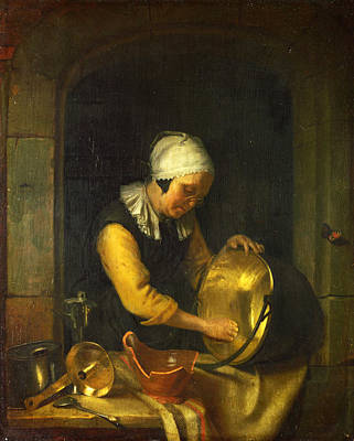 An Old Woman Scouring A Pot Art Print by Godfried Schalcken