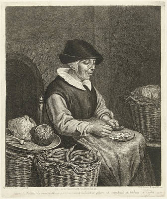 An Old Woman Sitting In The Kitchen On A Chair And Blanked Art Print by Louis Bernard Coclers