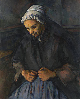 An Old Woman With A Rosary Art Print by Paul Cezanne