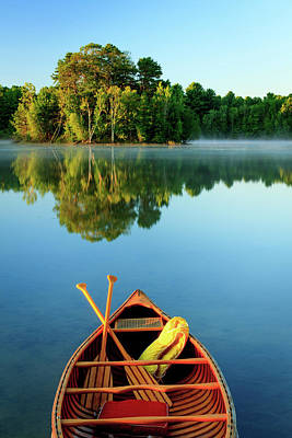 Oar Photograph - An Old Wooden Canoe On Calm Lake by Tom Whitney Photography