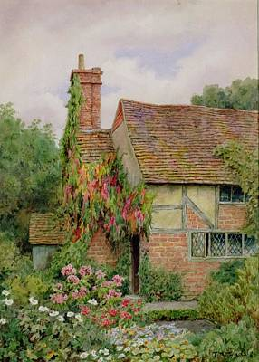 Tudor Painting - An Old World Cottage Garden by Thomas Nicholson Tyndale