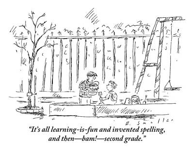 Playground Drawing - An Older Child Speaks To Younger Child by Barbara Smaller