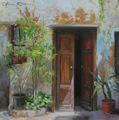 Oil Paint Painting - An Open Door Milan Italy by Anna Rose Bain