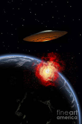 Collision Of Worlds Digital Art - An Orbiting Ufo Launches A Deadly by Mark Stevenson