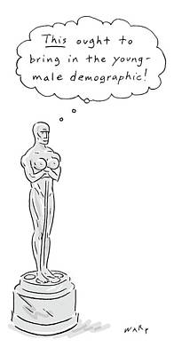 Drawing - An Oscar Statue With Breasts Thinking This Ought by Kim Warp