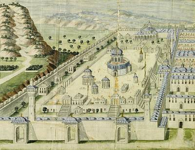 Medina Painting - An Ottoman Illustration Of The Al-aqsa Mosque In Jerusalem by Celestial Images