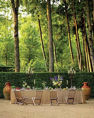 Tableware Photograph - An Outdoor Dining Area by Alexandre Bailhache