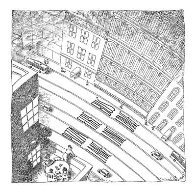 An Overhead Shot Of A Street Reveals Three Lanes Art Print by John O'Brien
