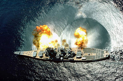 An Overhead View Of The Battleship Uss Iowa Bb61 Firing All 15 Of Its Guns Art Print