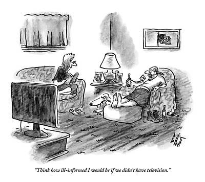An Overweight Man Lazily Reclines On His Sofa Art Print