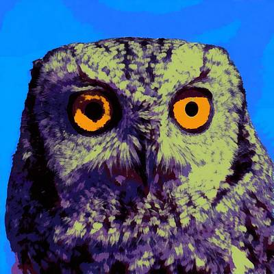 Digital Art - An Owl Pop Art by Ernie Echols