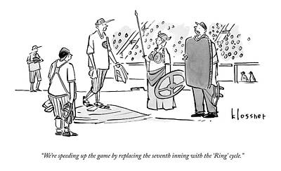 Wagner Drawing - An Umpire At A Baseball Game Presents The Viking by John  Klossner