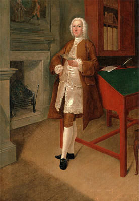 Library Painting - An Unknown Man In A Library, Arthur Devis by Litz Collection