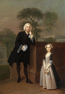 Staircase Painting - An Unknown Man With His Daughter, Arthur Devis by Litz Collection