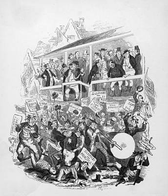 Trombone Drawing - An Unruly Crowd Attend The  Hustings by Mary Evans Picture Library