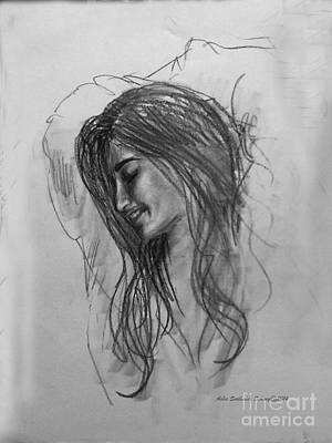 Drawing - An Young Girl by Asha Sudhaker Shenoy