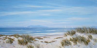 Sand Dunes Painting - Anacapa And Santa Cruz Island Thru The Dunes by Tina Obrien