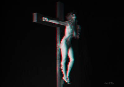 Anaglyph Dark Crucifix Print by Ramon Martinez
