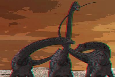 Anaglyph Diplodocus Art Print by Ramon Martinez
