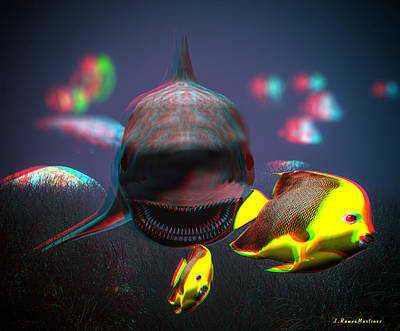 Anaglyph Shark And Fishes Art Print by Ramon Martinez