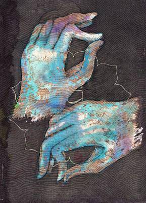 Anahata - Heart 'blue Hand' Chakra Mudra Art Print by Silk Alchemy