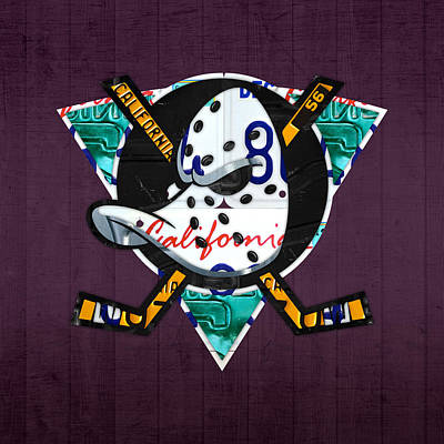 Team Mixed Media - Anaheim Ducks Hockey Team Retro Logo Vintage Recycled California License Plate Art by Design Turnpike