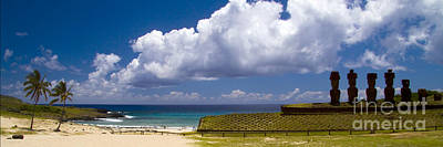 Anakena Beach With Ahu Nau Nau Moai Statues On Easter Island Art Print