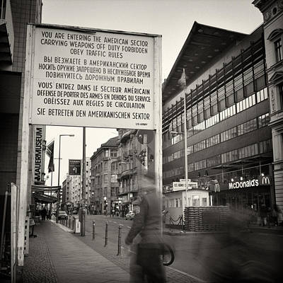 Berlin Photograph - Analog Photography - Berlin Checkpoint Charlie by Alexander Voss