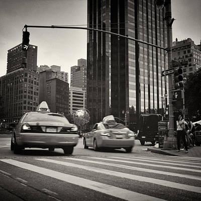 Black And White Photograph - Analog Photography - New York Columbus Circle by Alexander Voss