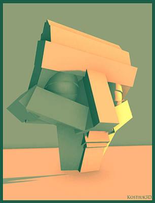 Analytic Head 030414 Art Print by Thomas Kostiuk
