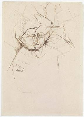 Umberto Drawing - Analytical Study Of A Womans Head by Umberto Boccioni