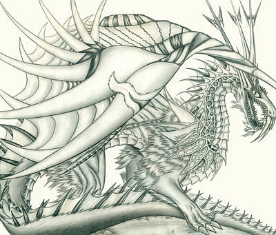 Drawing - Anare'il The Chaos Dragon by Shawn Dall