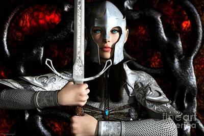 Elven Digital Art - Anarzee The Defender by Gabor Gabriel Magyar - Forgottenangel