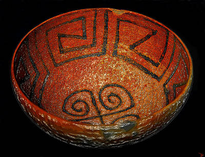 Anasazi Digital Art - Anasazi Bowl Work C by David Lee Thompson