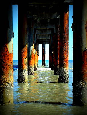 Photograph - Anastasia Beach Under Peir by Sheri McLeroy