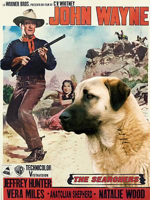 Painting - Anatolian Shepherd Kangal Art Canvas Print - The Searchers Movie Poster by Sandra Sij