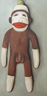Penis Painting - Anatomically Correct Male Sock Monkey by Leah Saulnier The Painting Maniac