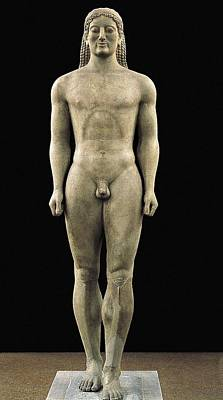 Statue Portrait Photograph - Anavyssos Kouros. Ca.  520 Bc. Archaic by Everett